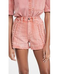 Aje. Framework Denim Shorts - Pink