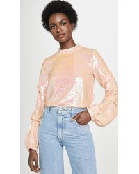 Endless Rose Sequin Tucked Sleeve Top - Pink