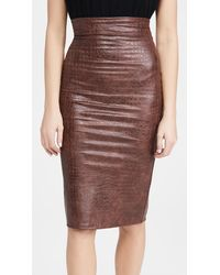 Commando Faux Leather Animal Midi Skirt - Brown