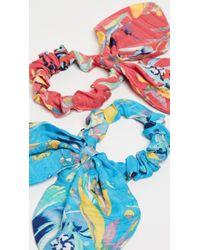 Tanya Taylor Botanical Floral Scrunchies - Blue