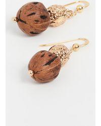 Tohum Wood Beads Resort Earrings - Metallic