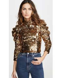 Alice + Olivia Brenna Sequin Fitted Puff Sleeve Top - Metallic