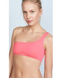 MILLY Maglificio Ripa Italian Solid One Shoulder Bikini Top - Pink