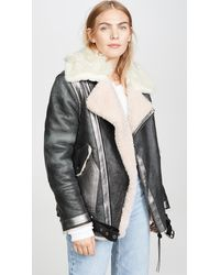 COACH Oversized Shearling Aviator Jacket - Black