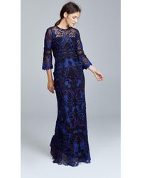 Notte by Marchesa - Guipure Lace Gown With 3/4 Sleeves - Lyst