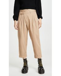 R13 Cropped Triple-pleat Crossover Trousers - Natural
