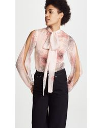 N°21 - Patterned Tie Neck Shirt - Lyst