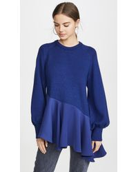 ADEAM Asymmetrical Ruffle Sweater - Blue