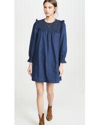 Madewell Indigo Ruffle Neck Smocked Babydoll Dress - Blue