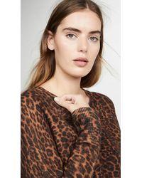 White + Warren Leopard Essential Sweater - Brown