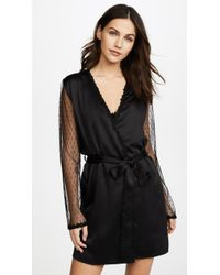 Flora Nikrooz - Charmeuse Robe With Lace - Lyst