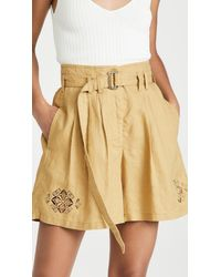 Rebecca Taylor Pleated Linen Belted Shorts - Natural