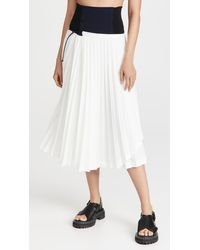 Toga Stretch Twill Pleated Skirt - White