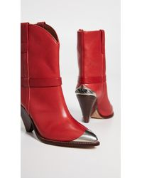 Isabel Marant Lamsy Leather Boots - Red