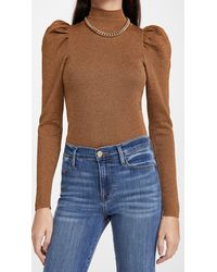 Alice + Olivia Issa Turtleneck Puff Sleeve Fitted Pullover - Multicolour