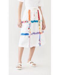 Mira Mikati Check A Line Skirt - White