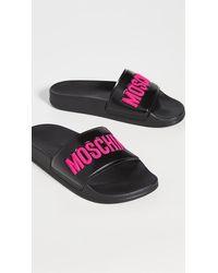 Moschino Logo Slide Sandal - Black