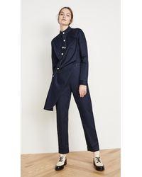 Monse Twill Contrast Stitch Jumpsuit - Blue
