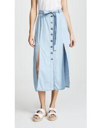 BB Dakota Dahlia Tie Waiste Midi Skirt - Blue