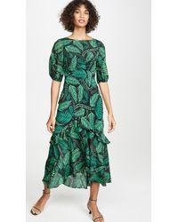 RIXO London Cheryl Printed Midi-dress - Green