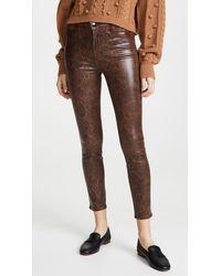 J Brand Alana Snakeskin Print Super Skinny Jeans - Brown