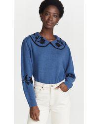 RIXO London Lula Sweater - Blue