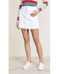 FRAME - Le High Mini Belted Skirt With Raw Hem - Lyst