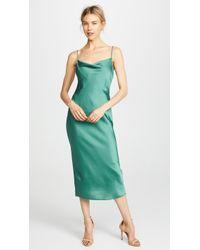 Keepsake This Moment Cowl Neck Sleeveless Slip Dress - Green