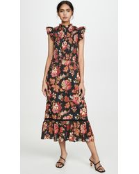 Sea Pascale Floral-print Cotton-jacquard Dress - Multicolour