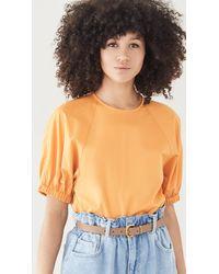Tibi Eco Poplin Shirred Sleeve Top - Orange
