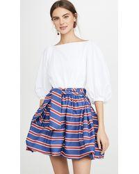 Stella Jean Mini Dress With Striped Skirt - Blue