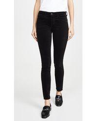 L'Agence Marguerite Velvet High Rise Skinny Trousers - Black