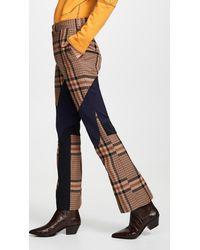 Toga Wool Check Biker Pants - Brown