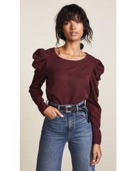 Three Dots - Long Sleeve Top With Puff Sleeve - Lyst