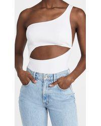 Brandon Maxwell Rib Knit One Shoulder Thong Bodysuit - White