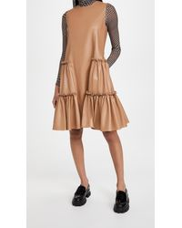 ADEAM Faux Leather Ruched Dress - Multicolor
