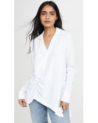 Wilt Ruched Collared Tee - White