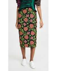 Essentiel Antwerp Troela Long Embo Skirt - Green