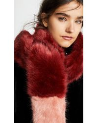 Heurueh Long Skinny Faux Fur Scarf - Red