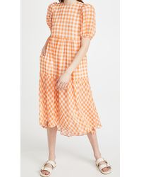 English Factory Gingham Print Midi Dress - Orange