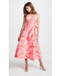Vika Gazinskaya - Lemon-jacquard Wrap Dress - Lyst