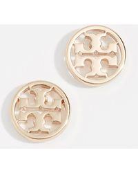 Tory Burch Logo Circle Stud Earrings - Metallic