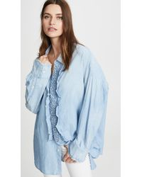 R13 Ruffled Shirt - Blue