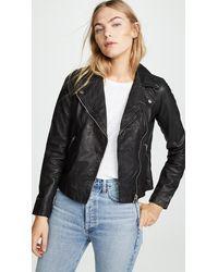 Madewell Washed Leather Motorcycle Jacket - Black