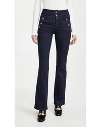 Veronica Beard Beverly Jeans With Side Buttons - Blue