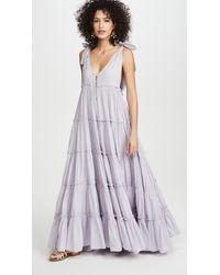 Innika Choo Rayleigh Tiered Cotton-voile Maxi Dress - Purple
