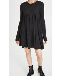 Autumn Cashmere Tiered Baby Doll Mini Dress - Black