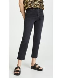 RE/DONE High Rise Stovepipe Jeans - Black