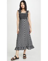 Ganni Cotton Checked Seersucker Wrap Midi Dress Lyst