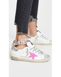 Golden Goose Deluxe Brand Superstar Trainers With Anklet - White